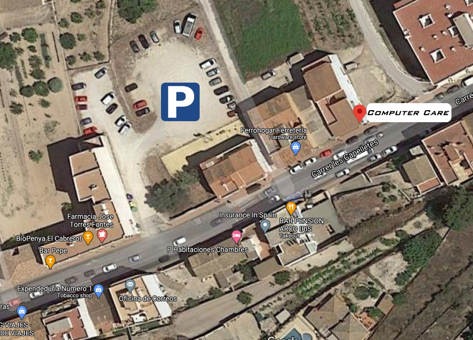 Parking area for Computer Care shop in Benitachell